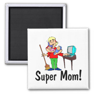 Super Mom (4 Arms) 2 Inch Square Magnet