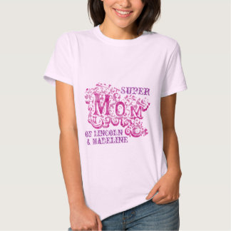 Super Mom decorative pink & purple kids names top Tees