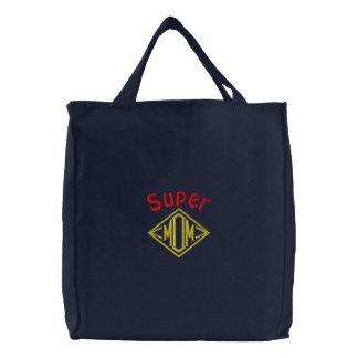 Super Mom Embroidered Tote Bag