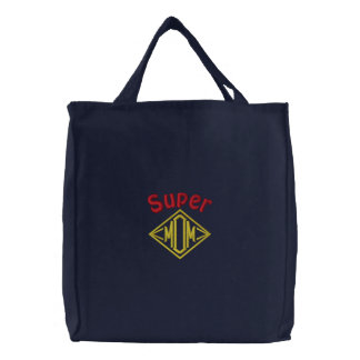 Super Mom Embroidered Tote Bags
