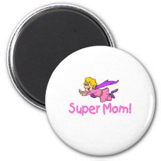 Super Mom (Flying) 2 Inch Round Magnet