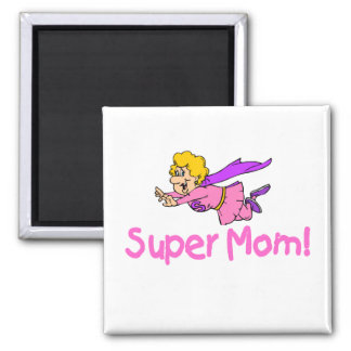 Super Mom (Flying) 2 Inch Square Magnet