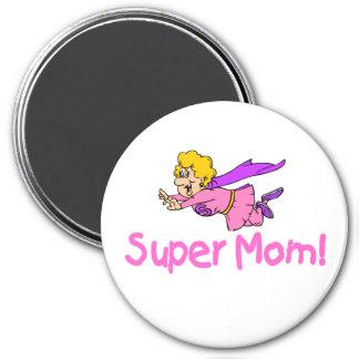 Super Mom (Flying) 3 Inch Round Magnet