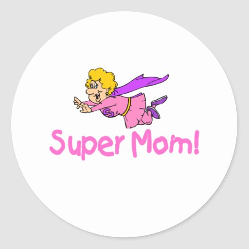 Super Mom (Flying) Round Stickers