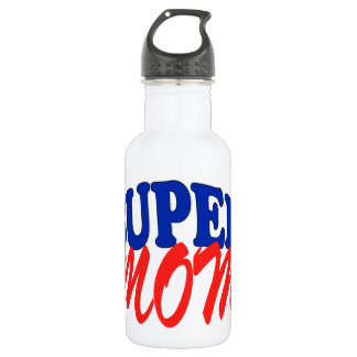 SUPER MOM fun and funny for mother 18oz Water Bottle