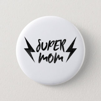 Super Mom Lightning Bolt Rock'n Roll Super Pinback Button
