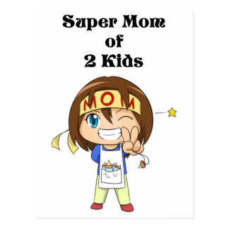 Super Mom Of 2 Kids Postcard
