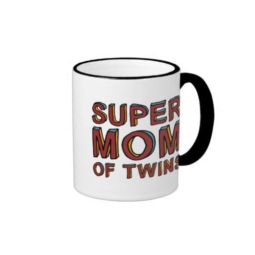 SUPER MOM OF TWINS RINGER COFFEE MUG