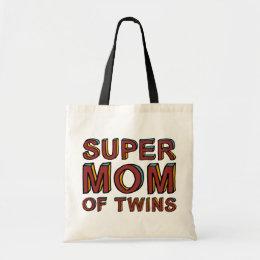 SUPER MOM OF TWINS TOTE BAG