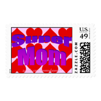 Super Mom! Purple on Hearts Postage Stamps