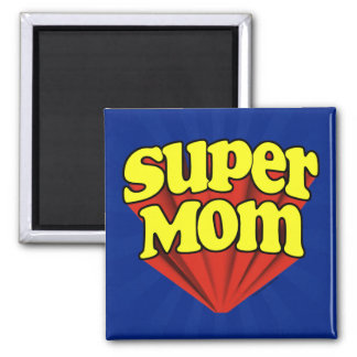 Super Mom Red/Yellow/Blue Superhero Mother's Day 2 Inch Square Magnet