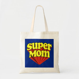 Super Mom Red/Yellow/Blue Superhero Mother's Day Budget Tote Bag