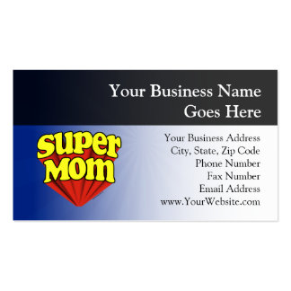 Super Mom Red/Yellow/Blue Superhero Mother's Day Business Card