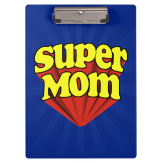 Super Mom Red/Yellow/Blue Superhero Mother's Day Clipboard