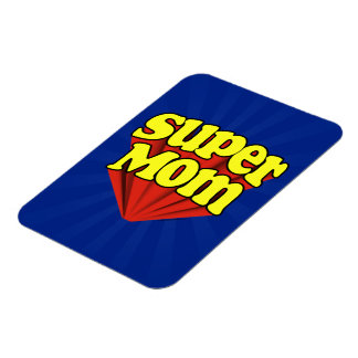 Super Mom Red/Yellow/Blue Superhero Mother's Day Magnet