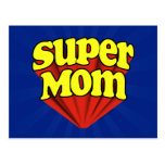 Super Mom Red/Yellow/Blue Superhero Mother's Day Postcard