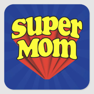 Super Mom Red/Yellow/Blue Superhero Mother's Day Square Sticker