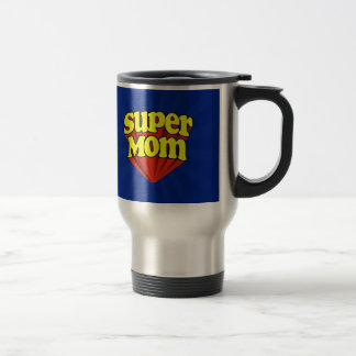 Super Mom Red/Yellow/Blue Superhero Mother's Day Travel Mug