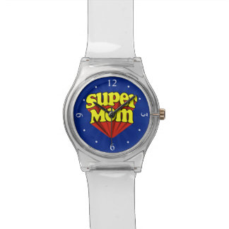 Super Mom Red/Yellow/Blue Superhero Mother's Day Wrist Watch