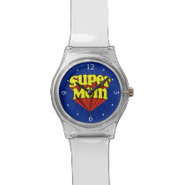 Super Mom Red/Yellow/Blue Superhero Mother's Day Wristwatch