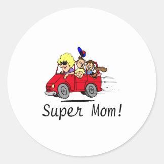 Super Mom (Van/Kids) Classic Round Sticker