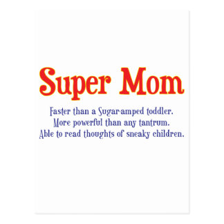 Super Mom with super powers t-shirts and gifts. Postcard