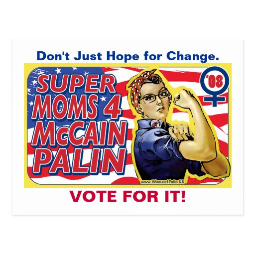 Super Moms for McCain Palin Postcard