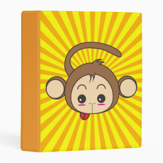 Super Monkey Face on Sunburst Background Mini Binder