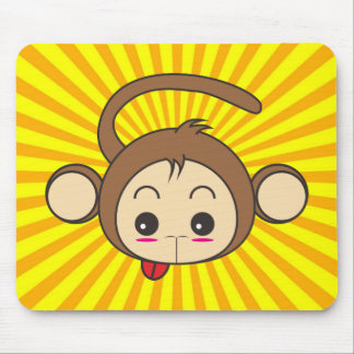 Super Monkey Face on Sunburst Background Mouse Pad