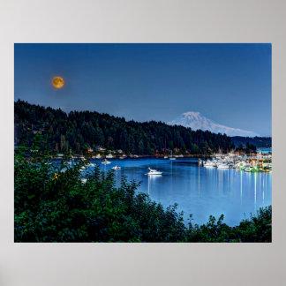Super Moon and Mt. Rainier Print