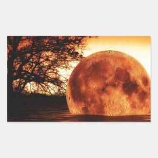 Super Moon Art Rectangular Sticker