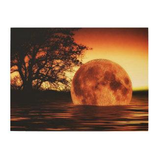 Super Moon Art Wood Print