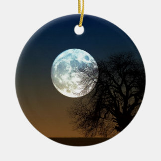 Super moon Double-Sided ceramic round christmas ornament