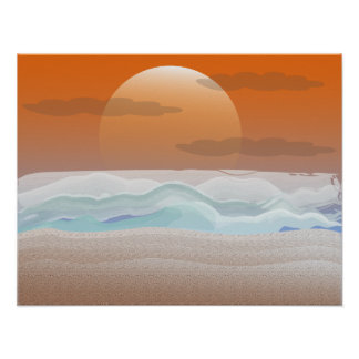 Super Moon on the Beach Posters