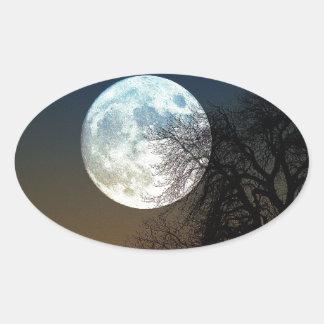 Super moon oval sticker