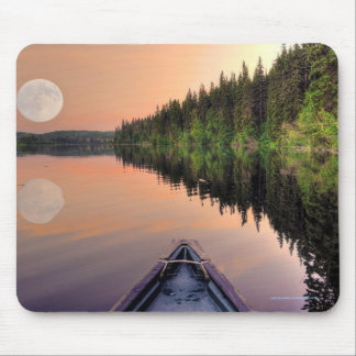 Super Moon over Lake from a Canoe at Twilight Mouse Pad