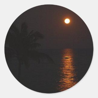 Super Moon over Ocean Classic Round Sticker