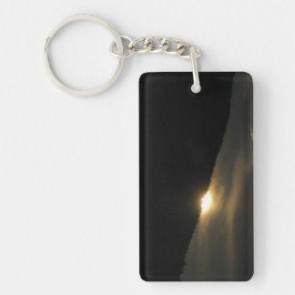 Super Moon over Washington Mountain Double-Sided Rectangular Acrylic Keychain