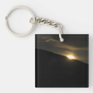 Super Moon over Washington Mountain Keychain
