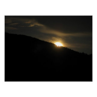Super Moon over Washington Mountain Perfect Poster
