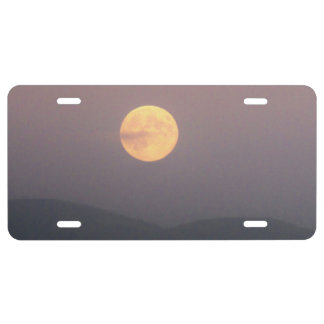 Super Moon Rise over Spokane Mountain License Plate