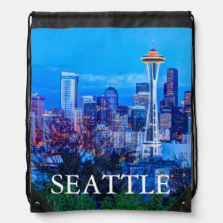 Super Moon rising near Seattle skyline Drawstring Bag
