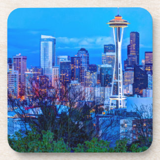 Super Moon rising near Seattle skyline Drink Coaster