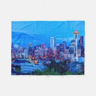 Super Moon rising near Seattle skyline Fleece Blanket