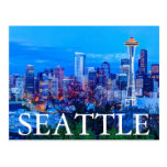 Super Moon rising near Seattle skyline Postcard