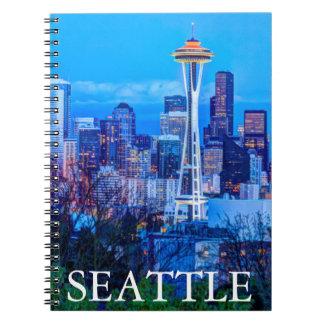 Super Moon rising near Seattle skyline Spiral Note Books