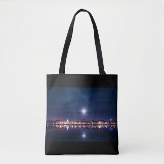 Super moon rising over blue Kings Lynn Tote Bag