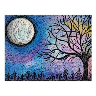 Super Moon & Tree Landscape Postcard