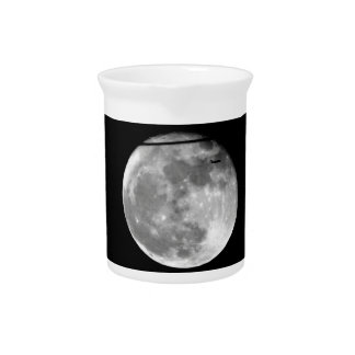 Super Moon with Airplane Passing/Customizable! Beverage Pitcher