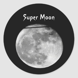 Super Moon with Airplane Passing/Customizable! Classic Round Sticker